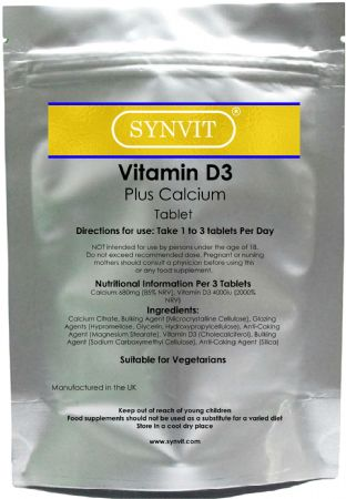 Vitamin D3 Plus Calcium SYNVIT® Tablets immune system bones teeth muscle